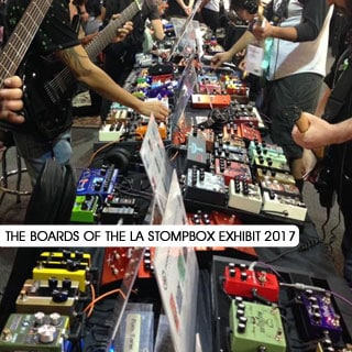 All the boards of the L.A. Stompbox Exhibit 2017