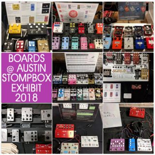 All the boards of the Austin Stompbox Exhibit 2018